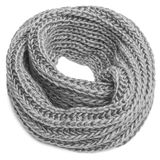 Knitted scarf on a white background. Knitted winter scarf on a white background Royalty Free Stock Photography
