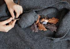 Knitted, scarf, winter, handmade, wintertime Stock Photo