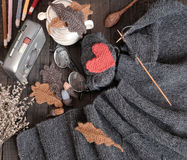 Knitted, scarf, winter, handmade, wintertime Stock Images