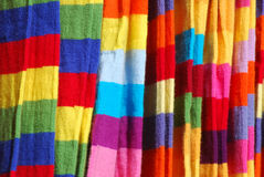Knitted scarves stock images