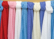 Knitted scarves. Royalty Free Stock Images