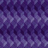 Knitted Seamless Cell Cube Pattern. Geometric seamless knitted ornamental vector pattern in violet hues as a fabric texture Royalty Free Illustration