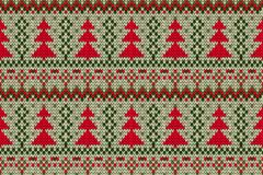 Knitted seamless Christmas tree print Royalty Free Stock Images