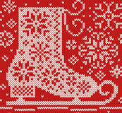 Knitted seamless northern pattern with skate Stock Photos