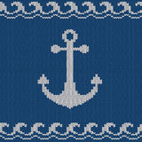Knitted seamless pattern with anchor Stock Photography