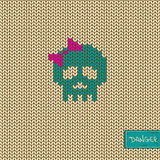Knitted seamless pattern or background with skull Stock Photography