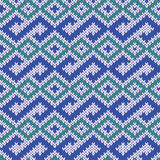 Knitted Seamless Pattern in Blue, Green and Gray Stock Photography