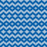 Knitted Seamless Pattern in Blue and Light Gray Royalty Free Stock Photo