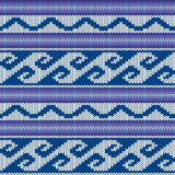 Knitted Seamless Pattern in Blue, Violet and Gray Stock Images