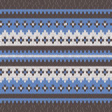 Knitted Seamless Pattern in Blue, White and Grey Royalty Free Stock Image