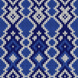 Knitted seamless pattern in cool blue hues Stock Images