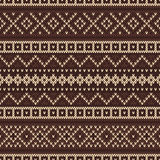 Knitted seamless pattern in Fair Isle style. Nordic traditional Fair Isle style seamless pattern on the wool knitted texture. EPS available Stock Photo