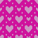 Knitted seamless pattern hearts Royalty Free Stock Image
