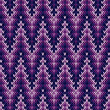 Knitted seamless pattern mainly in purple Stock Photos