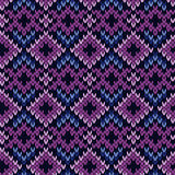Knitted seamless pattern in purple and blue Royalty Free Stock Photo