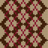 Knitted seamless pattern with rhombus Stock Photography