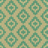 Knitted seamless pattern with rhombus Royalty Free Stock Photos