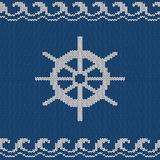 Knitted seamless pattern with sea wheel Stock Photo