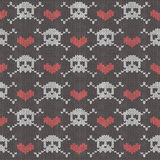 Knitted seamless pattern with skulls Royalty Free Stock Photos