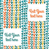 Knitted seamless pattern with text field. Vector knitted seamless pattern with text field Stock Image