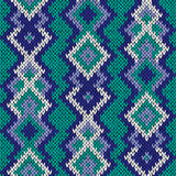Knitted seamless pattern in turquoise, blue and white hues Stock Photo