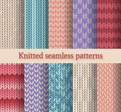 Knitted seamless patterns set Royalty Free Stock Image
