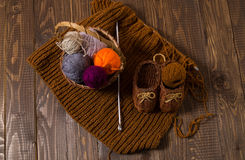 Knitted shoes and piece and a needle and a basket Royalty Free Stock Photography