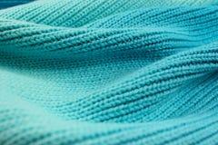 Knitted si è laureato le tonalità del turchese del backgroun di effetto dell'onda della lana fotografia stock libera da diritti