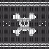 Knitted skull with bones, sweater for halloween and christmas Royalty Free Stock Images