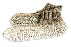 Knitted slippers Stock Photography