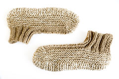 Knitted slippers Stock Photo