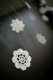 Knitted snowflakes. Black and white, snowflak stock images