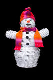 Knitted snowman with hat and scarf Stock Image