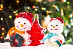 Knitted snowmen Royalty Free Stock Photo