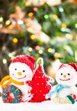 Knitted snowmen Stock Image