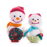 Knitted snowmen Stock Images