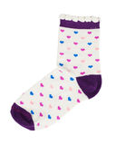 Knitted socks with red hearts Stock Photos