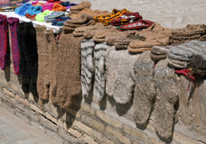 Knitted socks and slippers, Uzbekistan Stock Photography