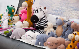 Knitted soft toys, handmade Stock Photo