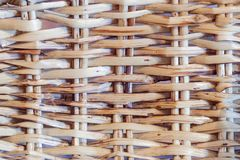 Knitted straw background or weaving pattern background in macro style. Weaving texture classic retro background for design.  royalty free stock image