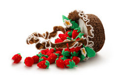 Knitted strawberry in basket Royalty Free Stock Photos