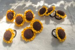 Knitted Sunflower Hair Ties Royalty Free Stock Photos