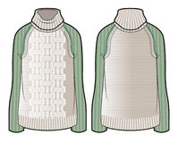 Knitted sweater with contrast sleeves. Front and back view of knitted sweater with contrast sleeves vector illustration