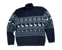Knitted sweater with a deer. Stock Photo