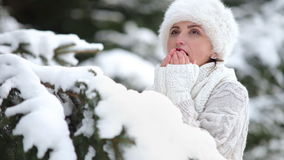 Knitted sweater and fur hat dressed attractive female warm up her frozen fingers stock video
