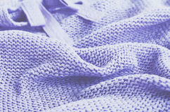 Knitted sweater of lavender color, selective focus Royalty Free Stock Photography