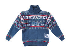 Knitted sweater with a pattern deer. Stock Photography