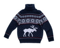 Knitted sweater with a pattern of elk. Royalty Free Stock Photography