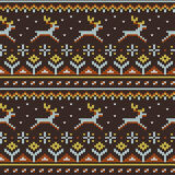 Knitted sweater pattern. Seamless knitted sweater pattern, running deer and folk ornaments. Included in swatches  panel Royalty Free Stock Photography