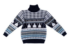 Knitted sweater with a snowman pattern. Stock Images